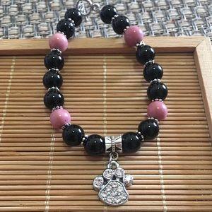 Jewelry - Handmade black onyx dog paw bracelet
